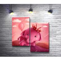 Розовый слоненок с шариком