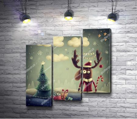 Сказочный олень в новогоднюю ночь