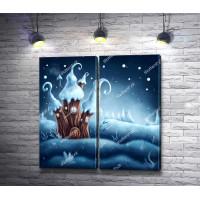 Сказочный домик на снежной опушке