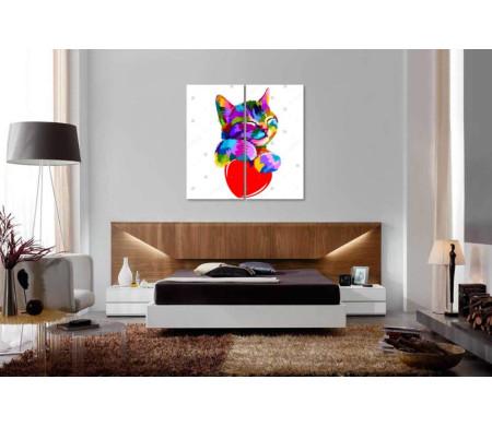 Разноцветный котик и сердце