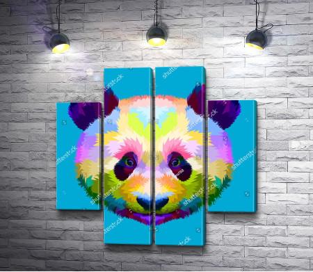 Морда панды на голубом фоне