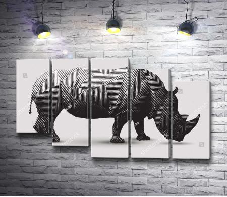 Текстурный носорог из полигонов