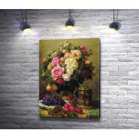 Натюрморт с букетом роз и фруктами