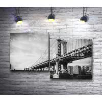 Манхэттенский мост в черно-белых тонах