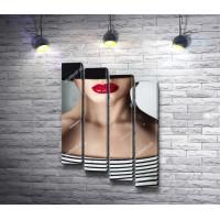 Девушка в шляпе с красными губами