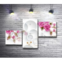 Розовые бутоны роз из керамики