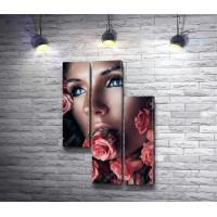 Девушка с бутонами розы