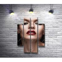 Портрет девушки с красными губами