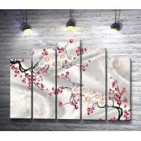 Цветы с бусинками на шелковой ткани
