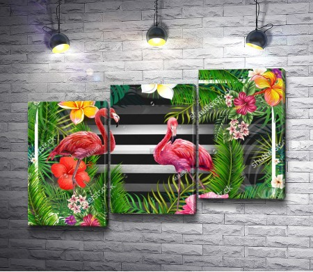 Фламинго среди тропических цветов