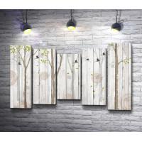 Нарисованные лес на деревянной стене