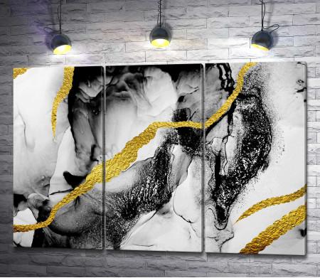 Черно-белая абстракция с золотыми лучами