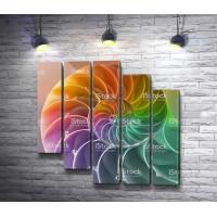 Спиралевидная ракушка в радужных цветах