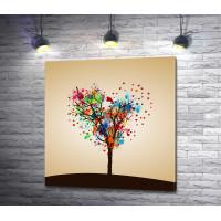 Дерево с кроной из пятен краски