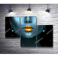 Девушка с золотой краской на губах
