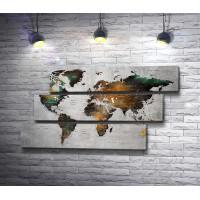 Политическая карта мира в металлике