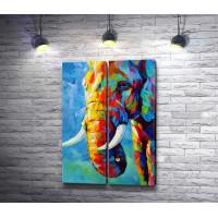 Разноцветный профиль слона