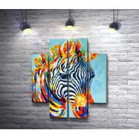 Полосатая зебра в радужном окрасе