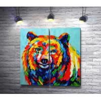 Медведь, нарисованный яркими красками