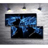 Карта мира в векторном свечении