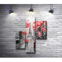 Парижская улочка с видом на Эйфелеву башню в красных и черных тонах