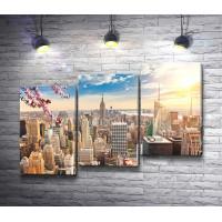 Вид на Нью-Йорк в лучах солнца
