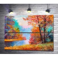 Осенний лес и река