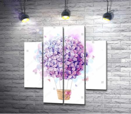Нежный воздушный шар из цветов сирени