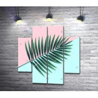 Веточка пальмы на пастельном фоне