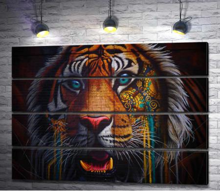 Яркий красочный тигр (стрит-арт)