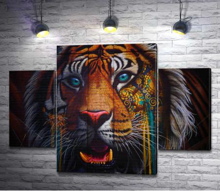 Яркий красочный тигр