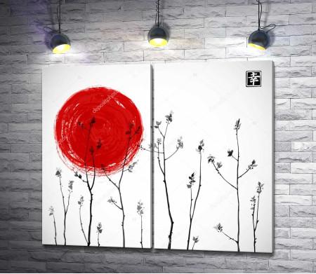 Полевые цветы на фоне японского солнца