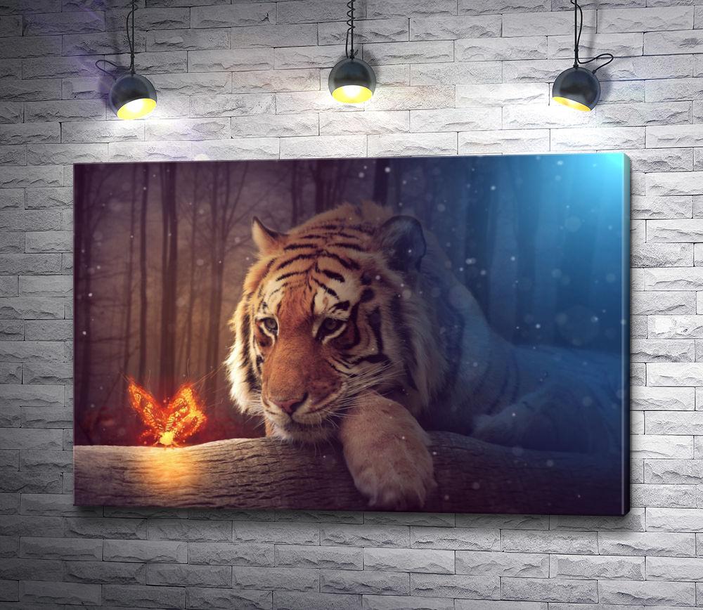 "Картина ""Тигр и огненная бабочка"""