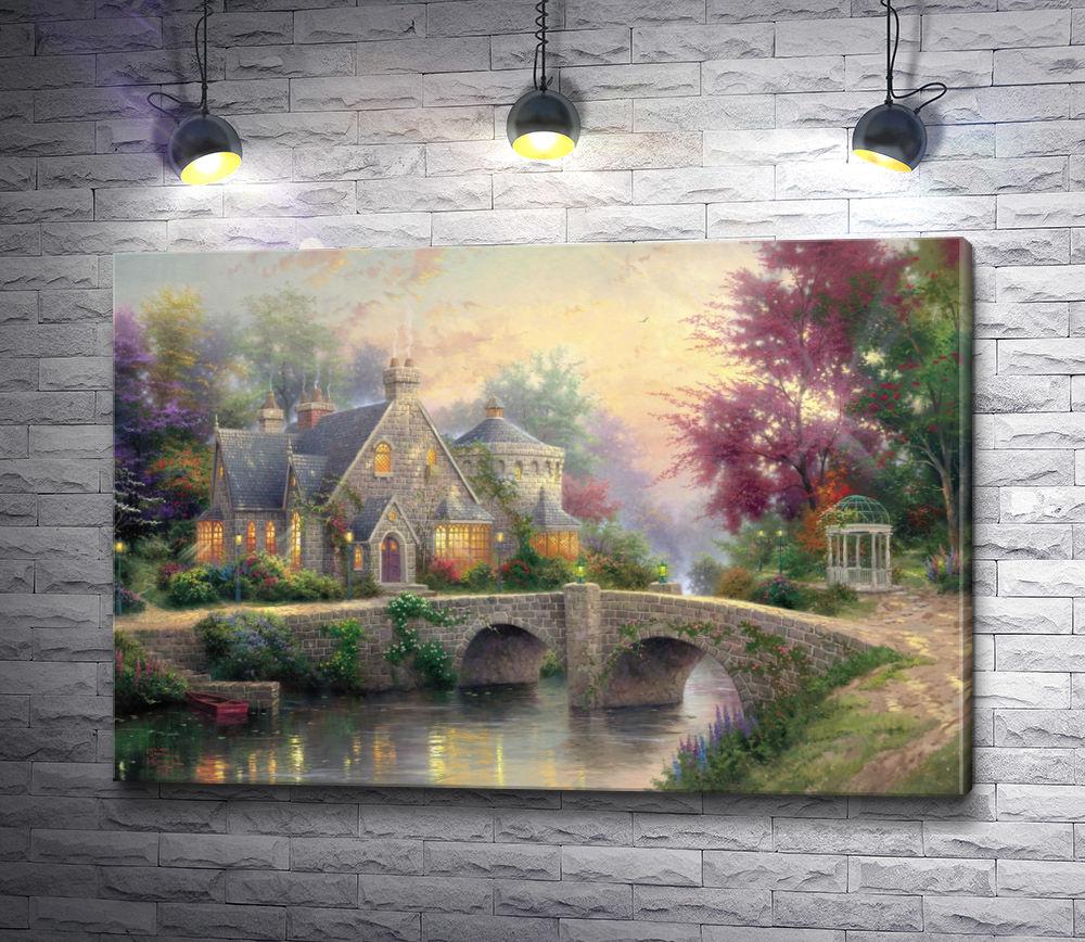 """Картина """"Каменный дом с мостом"""""""
