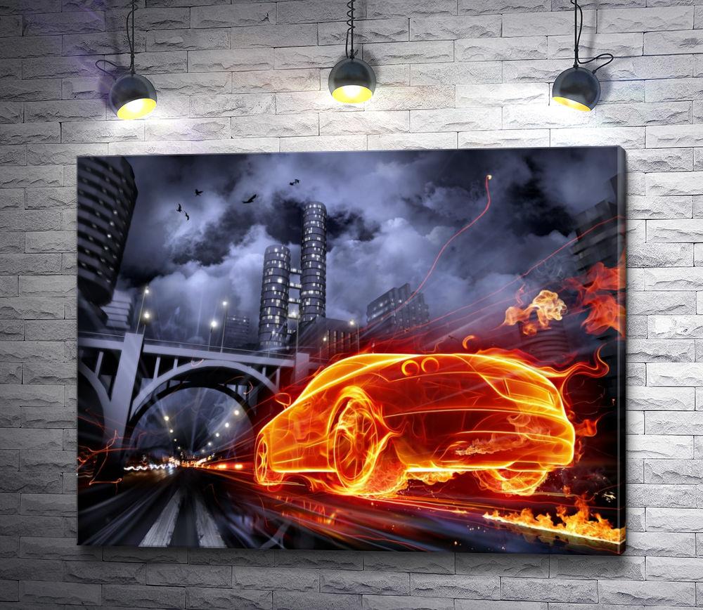 """Картина """"Огненный автомобиль в ночном городе"""""""