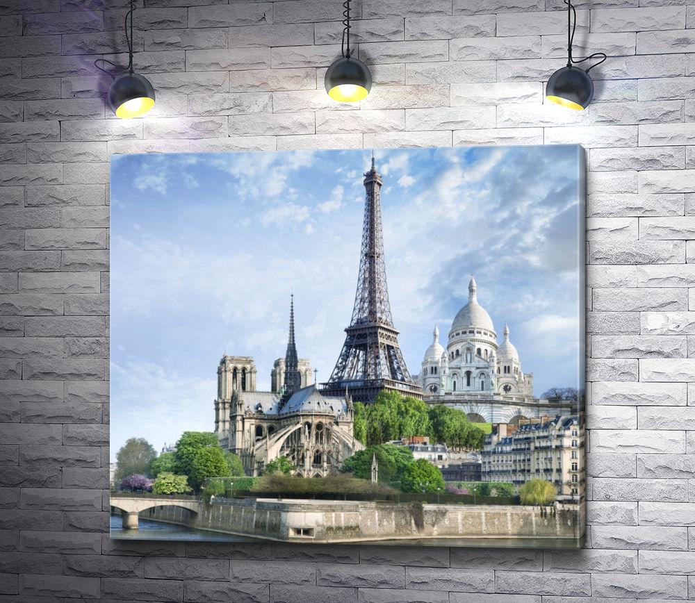 """Картина """"Центр Парижа. Вид на Эйфелеву башню"""""""