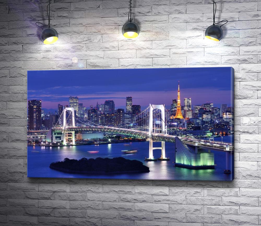 "Картина ""Радужный мост на фоне Токийской башни"""