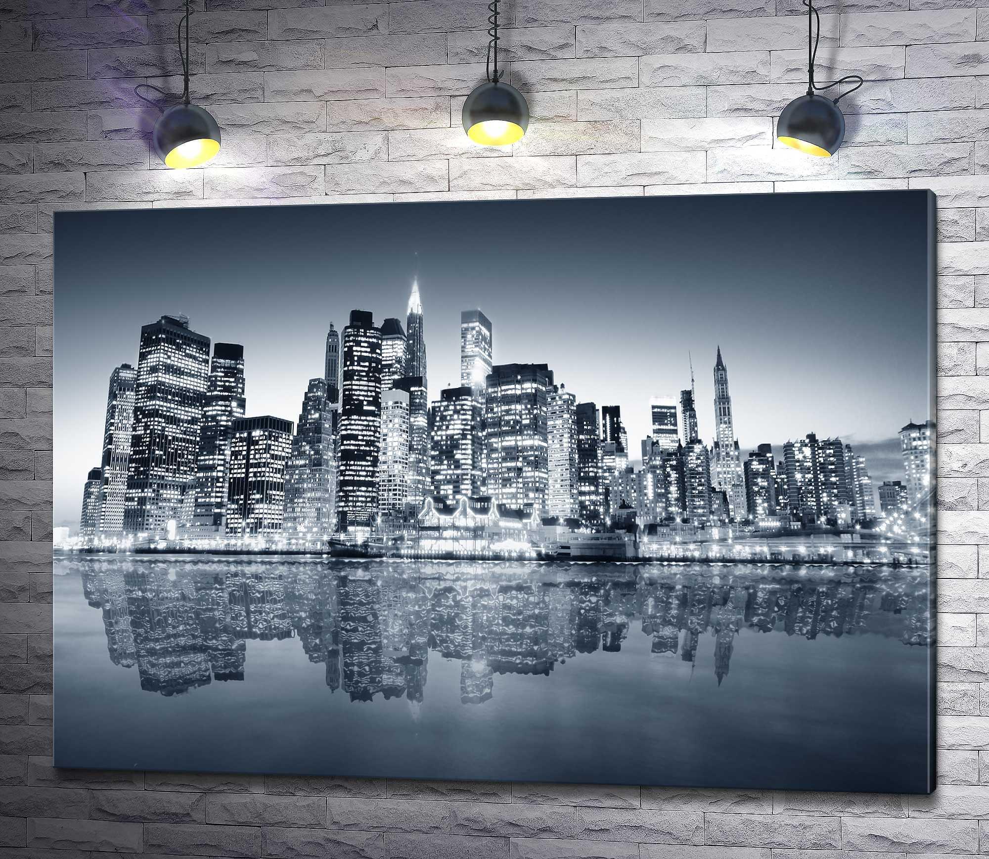 """Картина """"Ночной мегаполис, Нью-Йорк"""""""