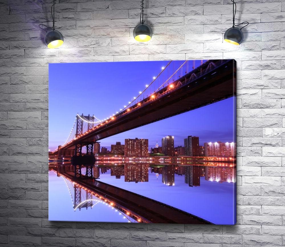 """Картина """"Мост. Ночной Нью-Йорк"""""""
