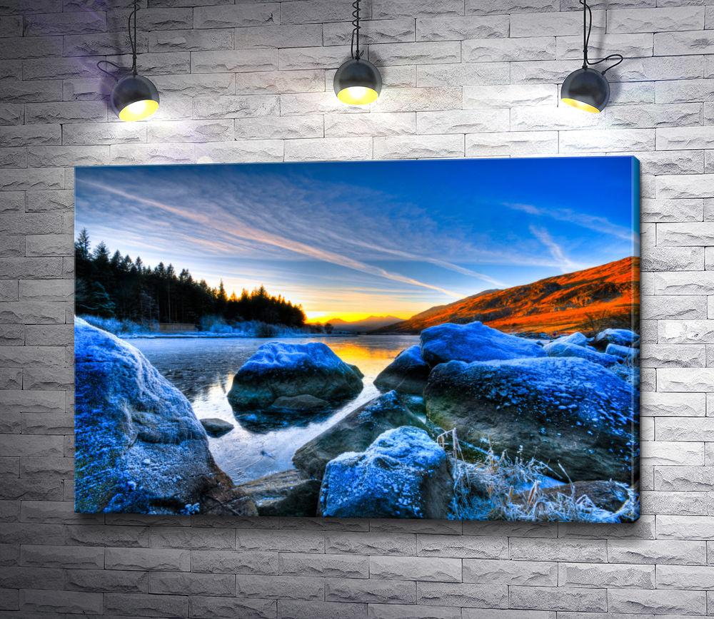 """Картина """"Восход солнца над весенней рекой"""""""