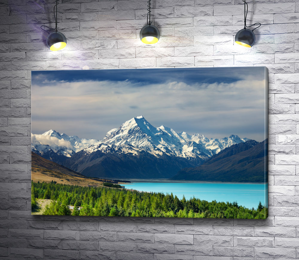 "Картина ""Озеро Пукаки на фоне снежных гор"""