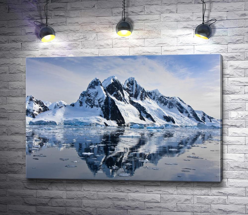 """Картина """"Заснеженные горы. Отражение в воде"""""""