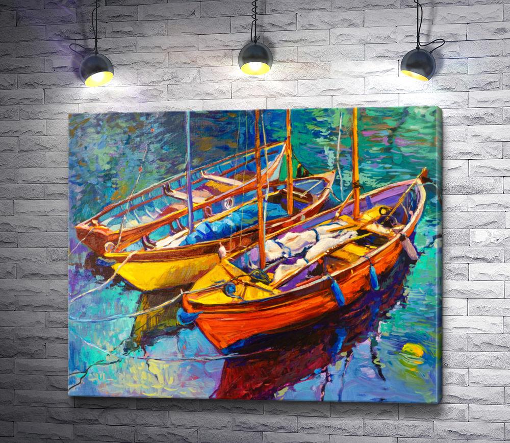"Картина ""Три яркие лодки у причала"""
