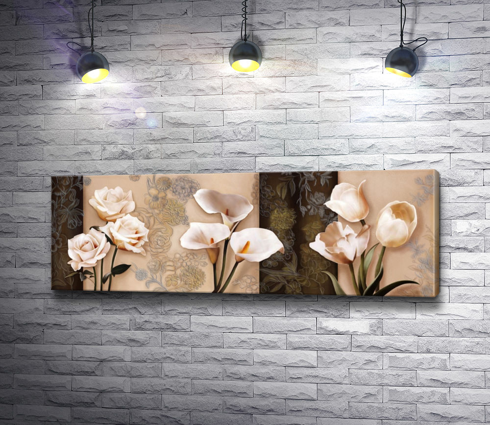 "Картина ""Трио - белые цветы. Розы, каллы и тюльпаны"""