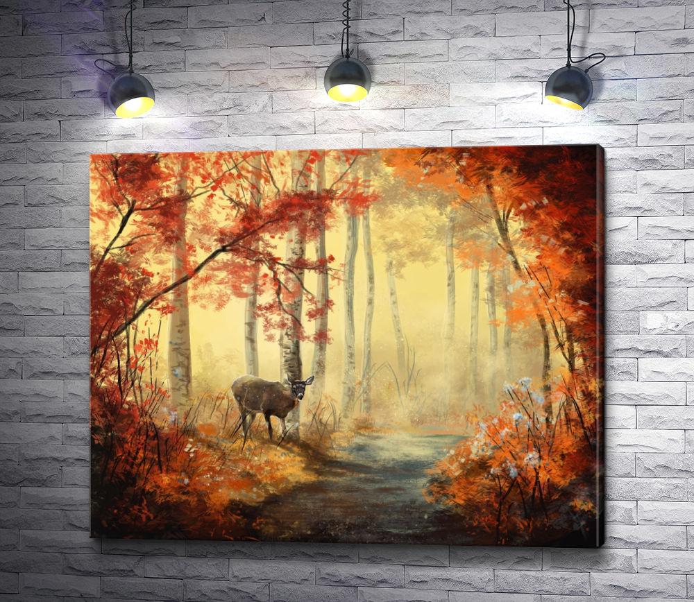 """Картина """"Олень в осеннем лесу"""""""