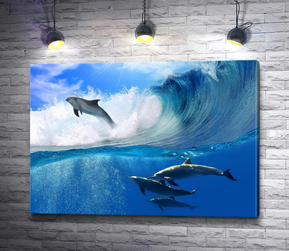 """Картина """"Дельфины в океане"""""""