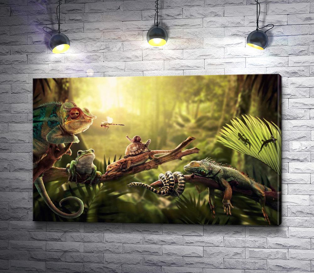 "Картина ""Игуана в джунглях"""
