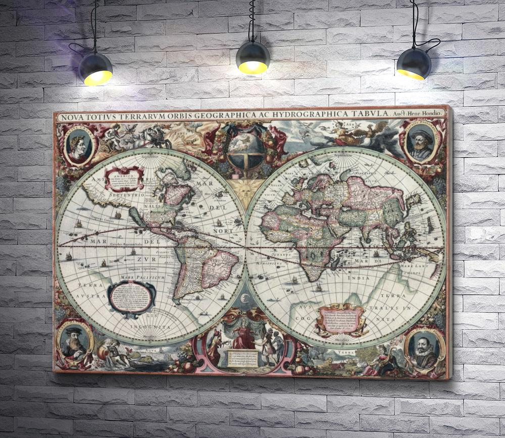 """Картина """"Винтажная карта мира"""""""