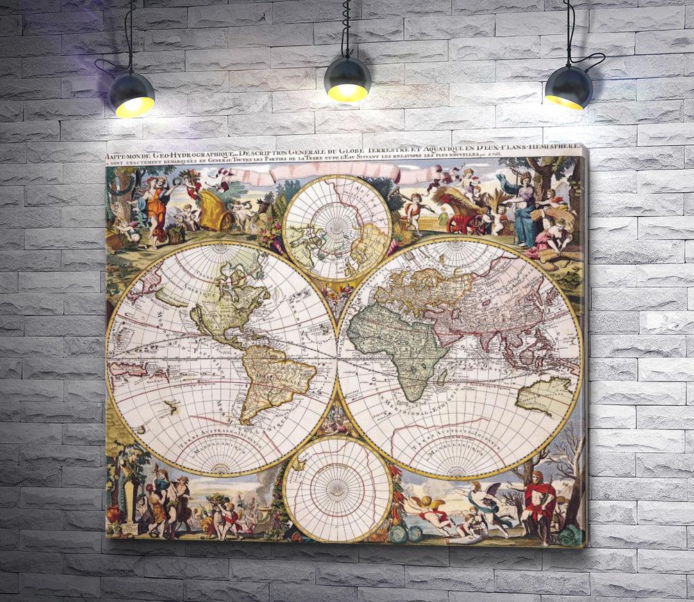 """Картина """"Старинная карта мира"""""""
