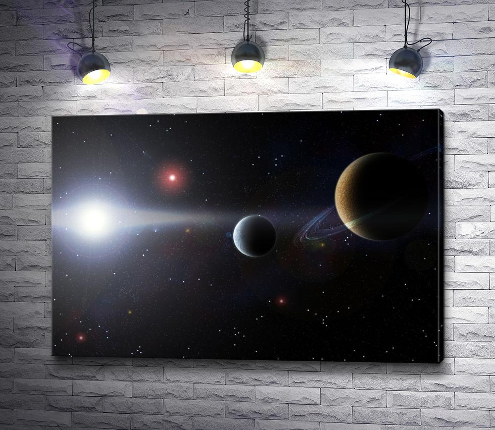 """Картина """"Планеты в открытом космосе"""""""